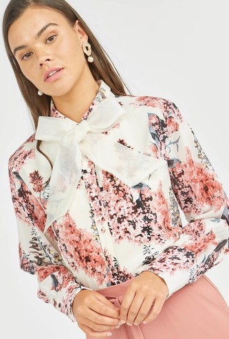 Floral Print Top with Long Sleeves and Bow Applique Detail