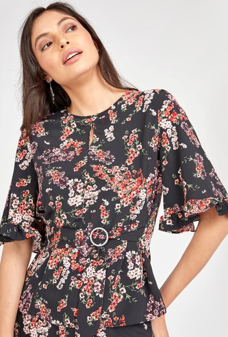 Floral Print Top with Short Sleeves and Belt