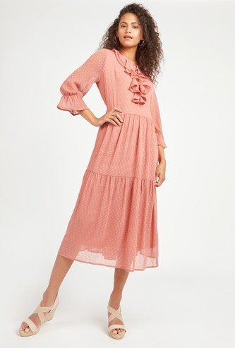 Textured Midi A-line Dress with Long Sleeves and Frill Detail