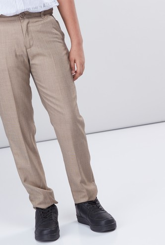 Textured Full Length Trousers with Button Closure and Pocket Detail
