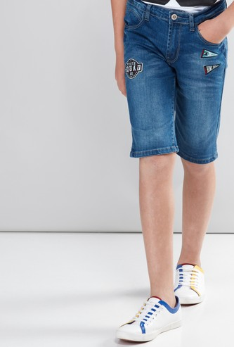 Embroidered Applique Detail Shorts with Button Closure