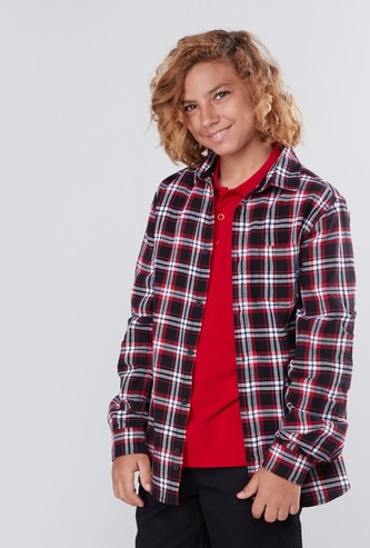 Checked Collared Shirt with Long Sleeves and Patch Pocket