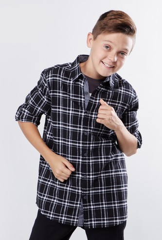 Chequered Shirt with Pocket Detail and Long Sleeves