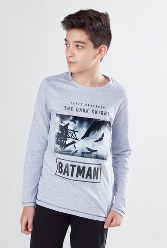 Batman Print Round Neck T-shirt with Long Sleeves