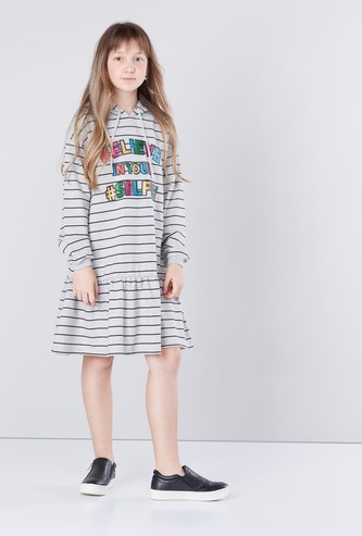 Printed Hooded Dress with Flared Hem and Long Sleeves