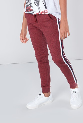 Full Length Stripe Detail Jog Pants with Drawstring