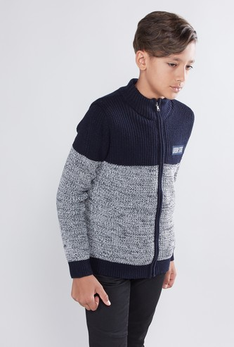 Textured Sweater with Long Sleeves and Zip Closure