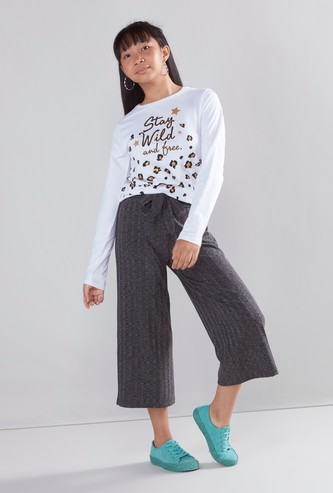 Textured Culottes with Waist Tie Ups