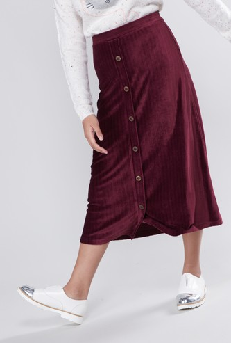Ribbed Midi Skirt with Button Closure and Elasticised Waistband