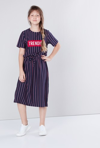 Printed and Striped Tie Up Dress with Short Sleeves and Slit