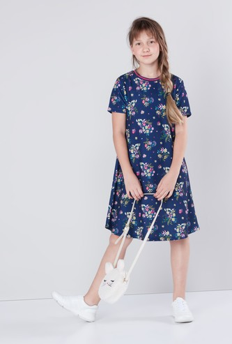 Floral Printed A-line Dress with Round Neck and Short Sleeves