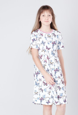 Butterfly Printed A-line Dress with Round Neck and Short Sleeves