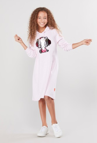 Hello Kitty Sequin Detail Dress with Long Sleeves and Hood