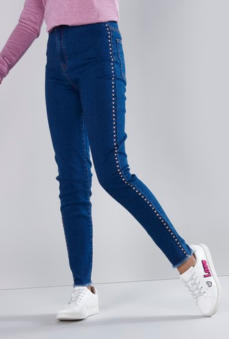 Embellished Full Length Jeans with Pocket Detail