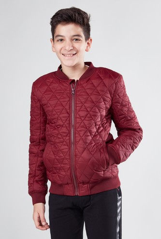 Quilted Bomber Jacket with Pocket Detail and Long Sleeves