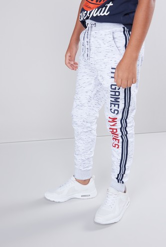 Slogan Printed Joggers with Pocket Detail and Drawstring Closure