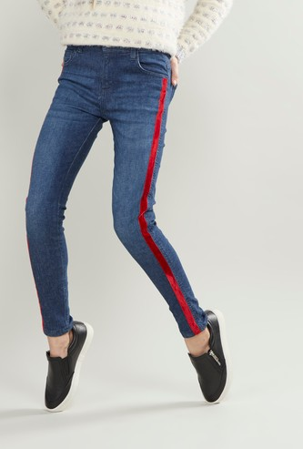 Tape Detail Denim Pants with Button and Zip Closure
