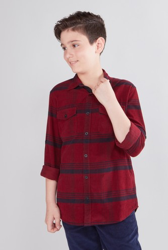 Chequered Button Through Shirt with Long Sleeves and Pockets