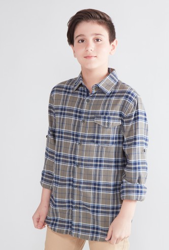 Chequered Shirt with Long Sleeves and Flap Pocket Detail