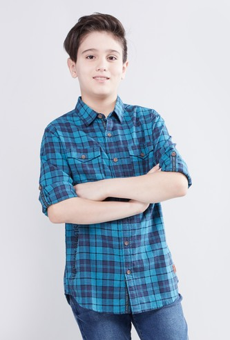 Checked Shirt with Spread Collar and Roll-Up Sleeves