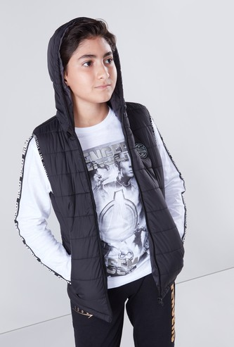 Puffer Sleeveless Jacket with Hood and Zip Closure