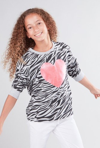 Printed Sweat Top with Round Neck and 3/4 Sleeves