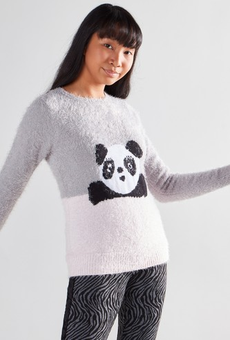 Round Neck Panda Jumper with Long Sleeves