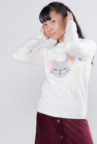 Embroidered Sweater with Round Neck and Long Sleeves