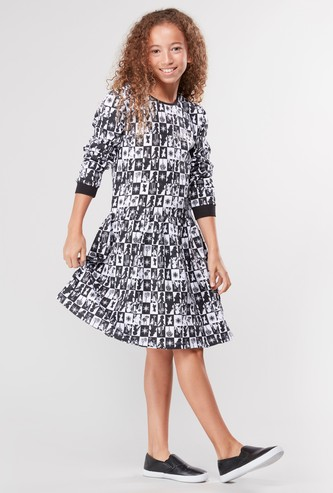 Frozen Printed Dress with Round Neck and 3/4 Sleeves