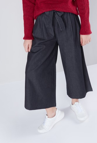 Flared Denim Pants with Waist Tie Up Detail