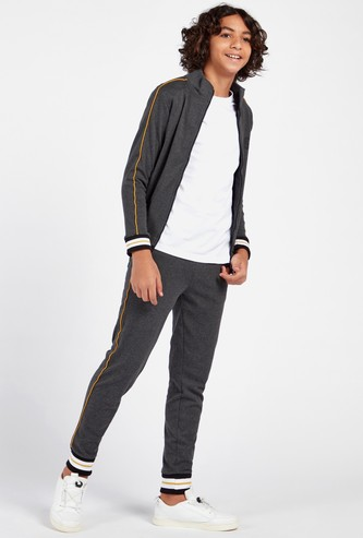 Solid Turtle Neck Jacket and Jogger Set