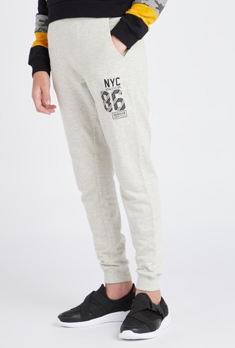 Typographic Print Anti-Pilling Joggers with Drawstring Closure