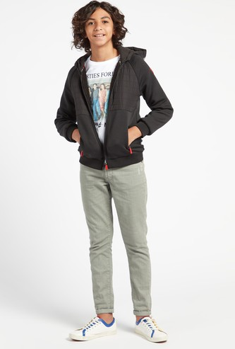 Quilted Panelled Jacket with Hood and Long Sleeves