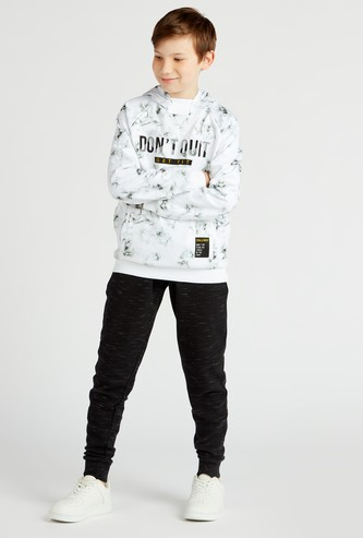 Slogan Print Hoodie with Pockets and Long Sleeves