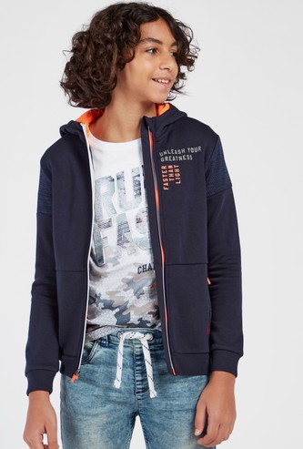 Slogan Print Hooded Jacket with Pockets and Reflective Panel