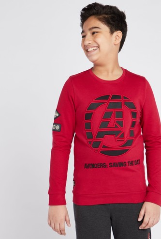 Avengers Print Sweat Top with Round Neck and Long Sleeves