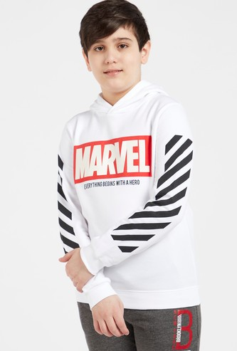 Marvel Typographic Print Hoodie with Long Sleeves
