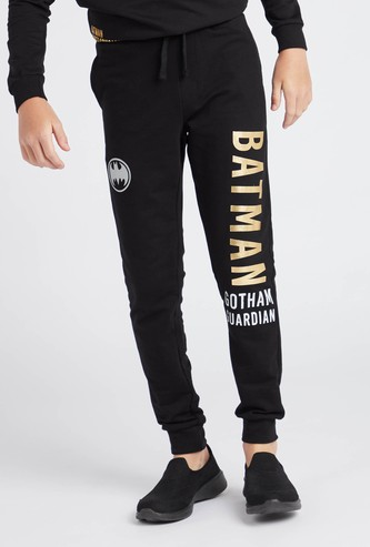Batman Print Joggers with Drawstring Closure