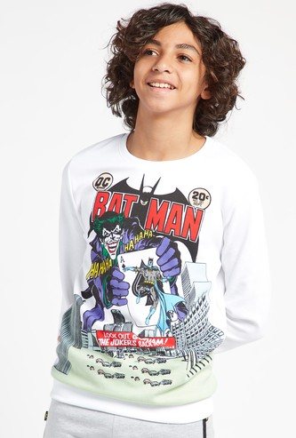Batman Graphic Print Sweatshirt with Round Neck and Long Sleeves