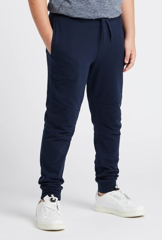 Textured Jog Pants with Pocket Detail and Drawstring Closure