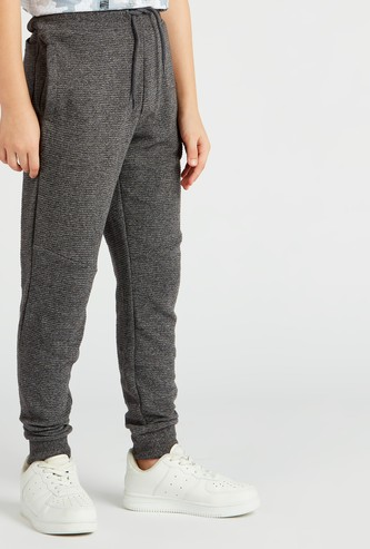 Textured Jog Pants with Pockets and Drawstring Closure