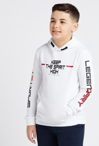 Printed Hoodie with Long Sleeves and Pocket Detail