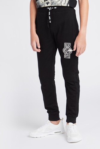 Iron Man Print Comfort Fit Joggers with Drawstring Closure