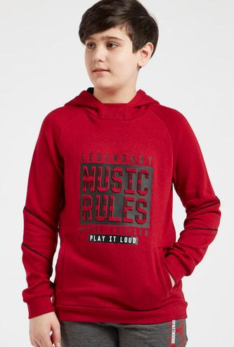 Embossed Print Sweatshirt with Hood and Pocket Detail