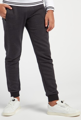 Herringbone Textured Full Length Jogger with Drawstring Closure
