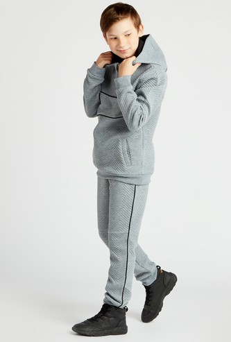 Textured Long Sleeves Hoodie and Joggers Set