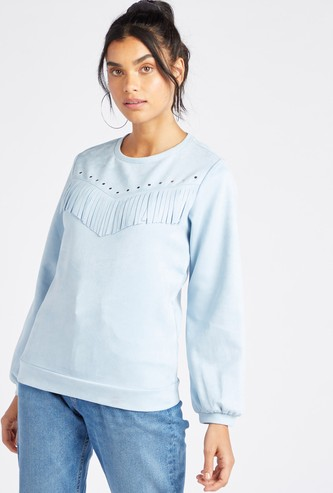 Fringe Detailed Round Neck Sweat Top with Long Sleeves