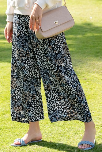 Animal and Floral Print Mid-Rise Palazzos