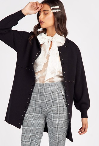 Solid Jacket with Round Neck and Embellished Detail