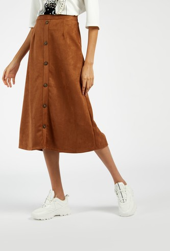 Solid Midi A-line Suede Skirt with Front Button Detail